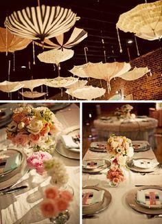 i love the umbrella idea.soo adorable for a wedding/baby shower/party Honey Chicken Kabobs, Deco Table, Shower Party, Shower Time, Holidays And Events, Event Decor, Baby Love, Baby Baby, Holiday Parties