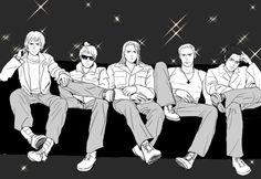 Germanic boys: Switzerland, Prussia, Germania, Germany, and Austria
