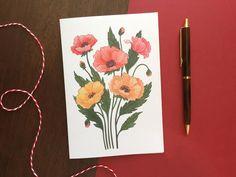 Poppy Greeting Card | Etsy #poppy #greetingcards #cards #etsy #etsyshop Colored Envelopes, Plant Illustration, Poppy, Greeting Cards, Hand Painted, Colours, Etsy Shop, Illustrations, Birthday