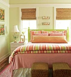 pretty bedrooms with greens and corals