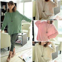 Damen-langarm-Rundhals-einfarbig-strick-Pullover-Pulli-Top-T-shirt-oversize