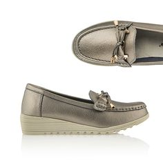 Cushion Walk Comfort Wedge Leather Loafer Sandal Pewter