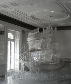 Ice ship sculpture created by Rhea Thierstein photographed by Tim Walker for Vogue US