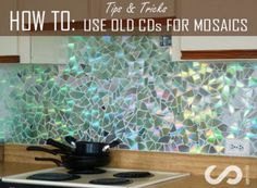 HOW TO: Use Old CDs for Mosaic Craft Projects - DIY Kitchen Backsplash Tips and Tricks diy and crafts projects Cd Mosaic, Mosaic Backsplash, Herringbone Backsplash, Mosaic Crafts, Mosaic Projects, Kitchen Backsplash, Kitchen Mosaic, Backsplash Ideas, Dark Countertops