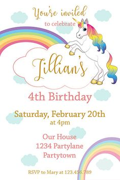 Hello and welcome to JennyIllustrations!  Who doesnt love unicorns? They have something magical, mystical. Your little girls birthday is off to a great start with this Unicorn Birthday Invitation. You will receive a Free thank you card in the same theme when ordering this Unicorn Party Invitation.  This is a DIGITAL listing, you can print this Rainbow Invitation as many times as you want. You can print at home or in a local print shop. I will send you the file in .PDF and .JPG. Within 24-48…