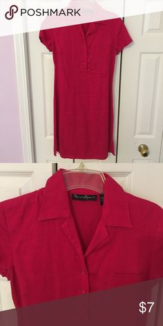Magenta linen dress A-shaped 100% linen dress. Size 10, but fit like 8. Gently worn 2 times. Mercer and Madison Dresses