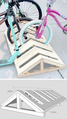 This minimalist bike rack is a modern DIY solution for parking and storing bikes. Pallet Bike Racks, Diy Bike Rack, Diy Rack, Bicycle Storage, Bicycle Rack, Bike Stand Diy, Bike Storage Rack Diy, Bike Stands, Rack Velo