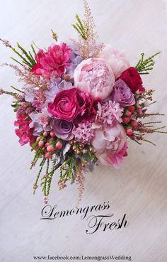 Pink, fuschia, lavendar bouquet from LemongrassWedding Bridal Flowers, Flower Bouquet Wedding, Floral Wedding, Wedding Decor, Bride Bouquets, Floral Bouquets, Beautiful Flower Arrangements, Floral Arrangements, Amazing Flowers