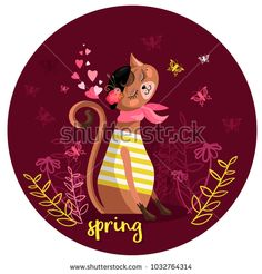 Card with cartoon pretty kitty in a beret, with flowers and a scarf on the neck. Vector illustration