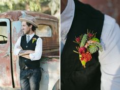 stylish yet casual....how about that rad boutonniere with cactus?