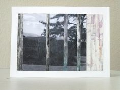 Abstract collage tree mixed media landscape black and white photography, pastels, charcoal, acrylic paint - pinned by pin4etsy.com
