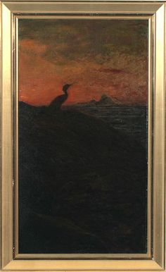 Thorolf Holmboe (1866-1935): Cormorant against setting sun.  1890ies.