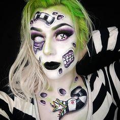 Really Scary Halloween Costumes, Zombie Halloween Makeup, Maquillaje Halloween, Creepy Makeup, Horror Makeup, Sfx Makeup, Pop Art Makeup, Cute Makeup, Beetlejuice Makeup