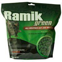 """NEOGEN RODENTICIDE Ramik Mouse and Rat Nuggets Pouch, 4-Pound, Green by NEOGEN RODENTICIDE. Save 44 Off!. $8.95. Wax-free formula. """"One of a kind, ultimate all-weather rodenticide for controlling rats and mice indoors and outdoors."""". One of a kind, ultimate all-weather rodenticide for controlling rats and mice indoors and outdoors.. Especially suited for use in wet and damp areas.. Especially suited for use in wet and damp areas. Wax-free formula.. One of a kind, ultimate all-weather…"""