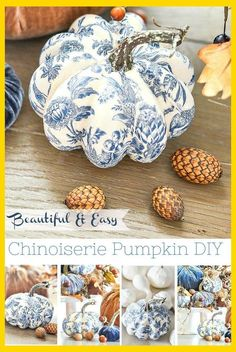 white christmas BLUE AND WHITE pumpkins are so easy to make. Just 3 things needed to make gorgeous CHINOISERIE pumpkins! Create a beautiful blue and white patterned pumpkin! Fabric Pumpkins, Painted Pumpkins, Fall Pumpkins, Plastic Pumpkins, Velvet Pumpkins, Craft Font, Deco Fruit, Pumkin Decoration, Diy Pumpkin