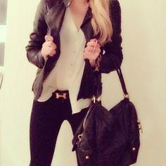 Hermes belt, Prada Bag & my leather jacket