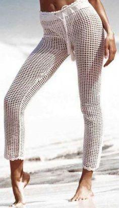 White Fishnet Beach Trousers with Drawstring Waist – rootilove Beach Dresses, Fishnet, Drawstring Waist, Capri Pants, Trousers, Spandex, Bikini, Clothes, Fashion