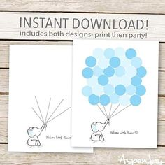 Printable Blue Elephant Guest Book Alternative  INSTANT DOWNLOAD  non editable  Guest Book This Guest Book is a great alternative to the standard guest book and sooooooo much cuter and as an instant download you will be able to print off your guestbook immediately   Ask each guest to sign a balloon when they first enter and then give the framed guestbook to the mamatobe to hang in her nursery Or instead of signing a balloon have your guests to leave their thumbprints as the balloons This…