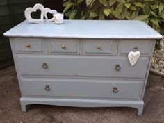 Stag Minstrel Blue/grey Painted Chest Of Drawers Shabby Chic Distressed Unit | eBay