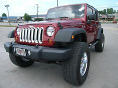 Cumberland Customs 2012 Jeep Wrangler Unlimited Soft Top Maroon and Chrome, Front Quarter 2012 Jeep Wrangler, Jeep Wrangler Unlimited, Future Goals, Jeep Life, Jeeps, Dream Cars, Antique Cars, Chrome, Smile