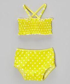 Take a look at this Yellow Polka Dot Ruffle Bikini - Infant by RuffleButts on #zulily today!