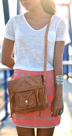 Girissima Beige Neon Aztec Print Mini Skirt by Just Coco