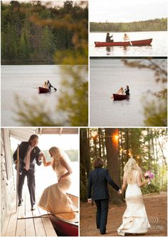 Adirondack Rustic Camp Wedding, canoeing  on your wedding day, romance, love, lace dress. Rob Spring Photography