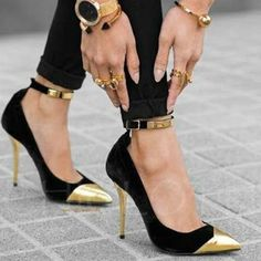 d03d3097fb39b Chicloth Metal Cap Toe Black Stiletto Heels Metallic Shoes  Promheels