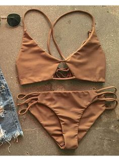 Chicnico Sexy Bikini Brown Swimsuit Top and Bottom Bikini Set