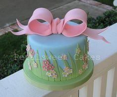 https://flic.kr/p/7mZ3tC | Grass and Bow Cake by Petalsweet Cakes | All fondant...made for a bridal shower...my design based on colors and theme given to me for the party.
