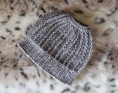 Messy Bun Beanie in Grey with cool texture. On Etsy by Hott Knots Made in Italy. Best one I've seen