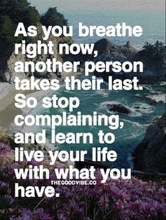 As you breathe right now, another person takes their last, so stop complaining and learn to live your life with what you have. STOP COMPLAINING! Now Quotes, True Quotes, Great Quotes, Quotes To Live By, Motivational Quotes, Funny Quotes, Inspirational Quotes, Humor Quotes, Amazing Quotes