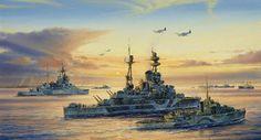 HMS Ramillies, HMS Warspite, and a Flower Class Corvet off Sword Beach, 6 June 1944