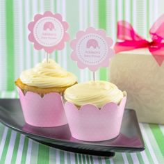 Personalized Baby Shower Cupcake Wrappers and Toppers by Beau-coup