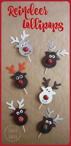 the Lollipop-Nosed Reindeer Rudolph the Red-nosed Reindeer Lollipop craft - super cute gift idea for kids' school classmates for Christmas.Rudolph the Red-nosed Reindeer Lollipop craft - super cute gift idea for kids' school classmates for Christmas. Christmas Activities, Christmas Projects, Kids Christmas, Christmas Presents For Kids, Christmas Carol, Handmade Christmas, Origami For Christmas, Preschool Christmas Gifts For Classmates, Diy Gift Ideas For Christmas