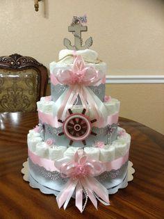 Nautical Girl Diaper Cake Pink Elegant Diaper by QueensDecorations