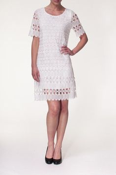 Short sleeve lined white crochet lace skimmer dress. Perfect for a Summer wedding. Machine washable.   Crochet Lace Dress by Alison Sheri. Clothing - Dresses - Casual Clothing - Dresses - Short Sleeve Pennsylvania