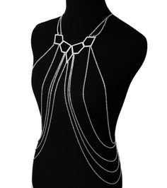 Body Chain Necklace Layered SILVER Fashion Hip Hop Punk Rock Sexy Bikini Jewelry