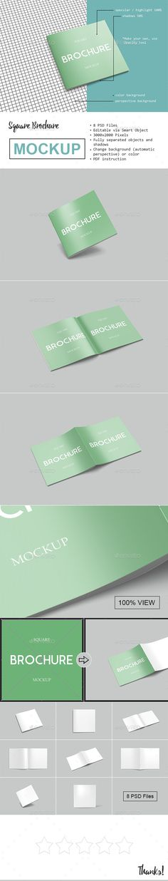 Square Brochure / Magazine Mockup — Photoshop PSD #brochure #book • Available here → https://graphicriver.net/item/square-brochure-magazine-mockup/18627683?ref=pxcr