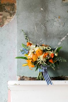 An Eclectic Navy and Orange Wedding