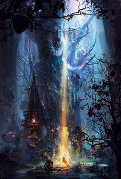 Ideas For Concept Art Fantasy Magic Beautiful Fantasy Art Landscapes, Fantasy Landscape, Landscape Art, Fantasy Concept Art, Fantasy Artwork, Fantasy Places, Fantasy World, Fantasy Forest, Character Design Sketches