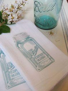 mason jar tea towels