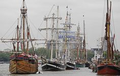 Tall ships are moored along the River Thames ahead of the river pageant for the Queen's Diamond Jubilee - oh, to have been there! (pinned by Sally ShipToShore http://pinterest.com/sallyship2shore/ )