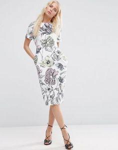 ASOS Wiggle Dress in Pale Wallpaper Print