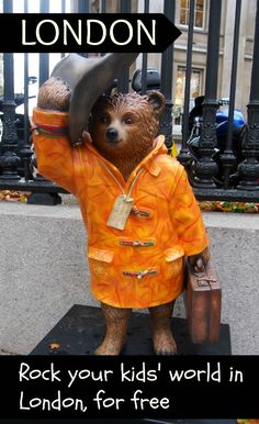 The #Paddingtontrail is on in London to the end of 2014, Click through for lots of other ways to make your kids happy travellers and learners in London. #familytravel