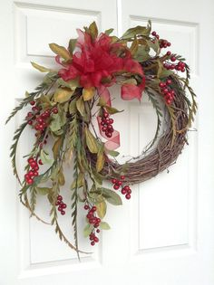 Red Berry Fall Wreath for Door Fall Decor by AdorabellaWreaths