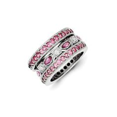 Sterling Silver CZ Triple Pink & White Band Square & Oval Center Ring