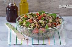 Receta de ensalada de quinoa con lentejas beluga y hortalizas crujientes. Con fotos del paso a paso, consejos y sugerencias de degustación. Recetas saludable...