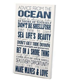 Another great find on #zulily! White & Navy 'Advice From the Ocean' Wall Art #zulilyfinds