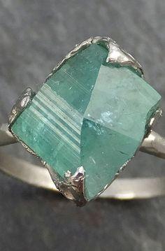 Raw Sea Green Tourmaline White Gold Ring